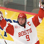 Picture of Jennifer Wakefield playing in her senior year at Boston University